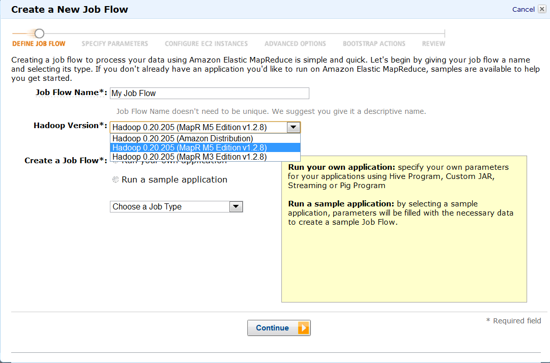 Create New Job Flow screenshot with Hadoop Version selector